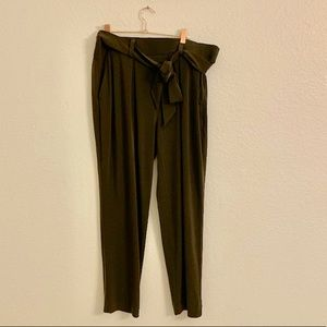 Express olive green pants with bow, large